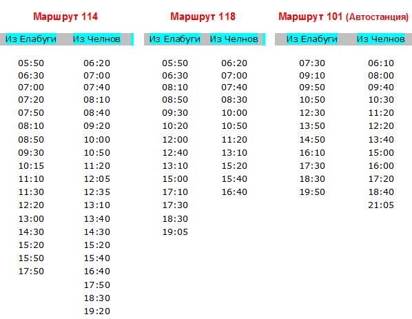 114 автобус расписание