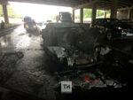 В Казани автомобиль врезался в автобус и загорелся